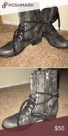 STEVE MADDEN COMBAT BOOTS WORN ONCE Super cute grey combat boots. Perfect for the fall! Only worn once! Steve Madden Shoes Combat & Moto Boots