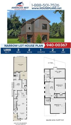 A 1,888 sq. ft. design, Plan 940-00367 gives you 3 bedrooms, 2.5 bathrooms, an open floor plan, a loft area, and a 2 car garage. Learn more about this house plan on our website. #newhomes Narrow Lot House Plans, Best House Plans, Stair Detail, Floor Plan Drawing, Cost To Build, Construction Cost, House Stairs, Build Your Dream Home, City Living