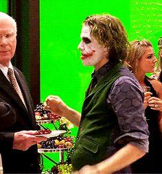 Heath Ledger behind the scenes of The Dark Knight