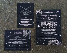 Star Wars wedding suite, designed and printed by Ladybones Print Shop. All illustrations by Ladybones. Silver foil on black paper. #starwarswedding #galacticwedding #foilstamping #customweddinginvitation #starwarsweddinginvitation #nerdwedding