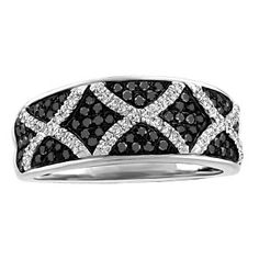 1d3741374e72 10KT White gold 0.50 ctw diamond and color enhanced black diamond ring.  RIN-LDI-2188