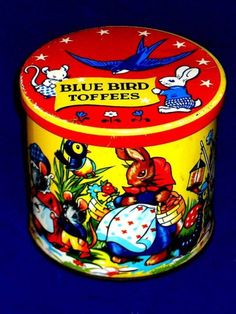 Vintage Toffee Tin Animals Harry Vincent Blue Bird 1950s