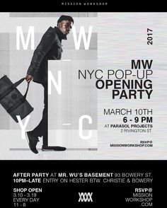 The #MWNYC pop-up shop is officially open for business with the launch of our new duffle The Cadre!  Opening party is from 6-8pm tonight at @parasolprojects 2 Rivington Street. See you there!
