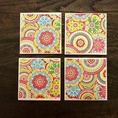 Coasters  Kaleidoscope  Handmade Ceramic Tile Coasters  Set