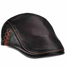 LETHMIK Unique Flat Cap Hunting Cowhide Leather Driver Ivy Cap Newsboy Hat Black-S