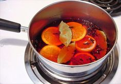 Simmering Christmas Scent - Food.com -  2-4 WHOLE cloves, 2-4 cinnamon sticks, 4 bay leaves, 1/2 sliced orange, 1/2 sliced lemon and 4 C water. Mix spices in small sauce pan  or small crockpot. Add citrus slices. Add water and simmer. Add water as it simmers away. Store in refrig to avoid mold. Can be used over and over. Add water to = 4 C before you reheat.