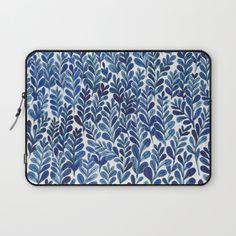 Indigo blue gouache leaves.<br/> <br/> blue, leaves, botanical, pattern, plants, painting, paint, gouache,