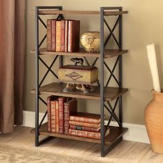 Add an edgy accent piece to your living space without compromising functionality. This display shelf features an industrial style framework with metal crisscross bars while wood shelves create four easy shelf spaces.