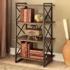 Furniture of America Collins Industrial Medium Weathered Oak 4-tier Display Shelf