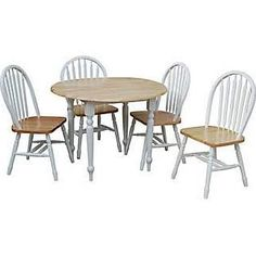 TMS 5 Piece Dining Set; White / Natural