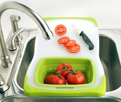 No matter the size of your kitchen, you can always use an extra prep area. This cutting board fits right on top of the sink and includes a collapsible colander, so you can chop and rinse vegetables all in one place.