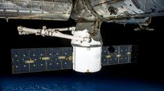 The Dragon spacecraft docked with the International Space Station.