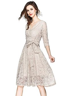 e1c3d58a5c84 Womens Floral Lace V Neck Sleeve A-line and Flare Cocktail Party Swing Dress      To view further for this item