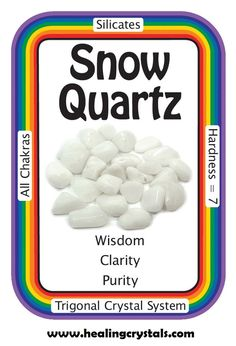 """Snow Quartz, """"I am filled with divine wisdom and peace of mind.""""  Snow Quartz has a gentler, more soothing vibrational quality than Clear Quartz. It reminds us to look at the world through the innocent eyes of a child and remember that there is still wonder in the world.   The female version of Clear Quartz, Snow Quartz provides peaceful energies in a whirlwind environment.  Code HCPIN = 10% off  http://www.healingcrystals.com/Tumbled_Snow_Quartz__Brazil__-_Tumbled_Stones.html"""