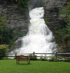 tioga ny waterfalls | Glenora Falls near Seneca Lake in the Finger Lakes, New York.