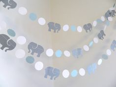 This adorable elephant and circle garland can be used for a baby shower, childrens birthday decoration, to hang in the new little ones nursery