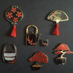 The complete black/red/gold Sakura Collection. . . . . #pingame #pins #lapelpins #pinstagram #pins #Sakura #Japanese #Japaneseculture #cherryblossom #anime #animelover #tassels #hardenamel #badge