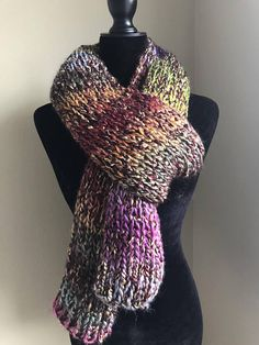 e3c4e1acf43 Multicolored knit scarf knit scarf gift ideas free Scarf Knit