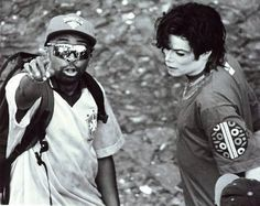 MJ and Spike Lee on the set of 'They Don't Care About Us'