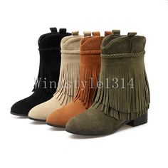 dcc1a2a5e Womens Faux Suede Tassel Ankle Boots Casual Boho Shoes Pointy Toe Low Block  Heel Low Block