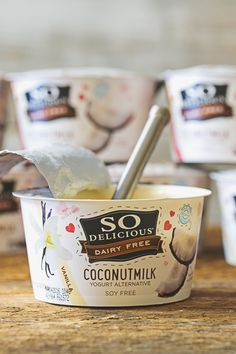 So Delicious Dairy Free Coconutmilk Yogurt Alternatives are thick, creamy, and made with six live active cultures, making them the perfect alternatives to dairy yogurt. Packed with fiber, our cultured coconut milk products are soy-free, gluten-free, and made using only organic Non-GMO Project Verified coconuts.