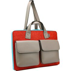 A purposeful and distinctive laptop carrying case that doubles as a brief with front pocket storage