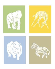 Kids Art Prints Cute Safari Nursery Art Prints by LittlePergola, $55.00