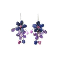 NOVICA Amethyst and Lapis Lazuli Flower Earrings (34 AUD) ❤ liked on Polyvore featuring jewelry, earrings, amethyst, dangle, novica earrings, amethyst jewellery, dangling jewelry, flower earrings and dangle earrings