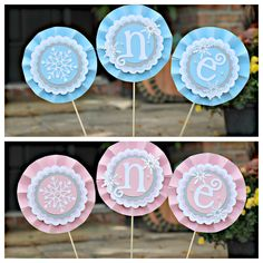 Winter Wonderland / ONEderland TWIN high centerpiece by Charming Touch Parties. Pink and blue. ONE. Customizable. by CharmingTouchParties on Etsy