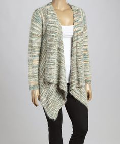 Look what I found on #zulily! Green & Beige Variegated Open Cardigan - Plus by C.O.C. #zulilyfinds