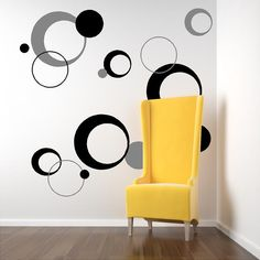 funky circles-Vinyl Lettering decal wall words graphics Home decor itswritteninvinyl. $35.00, via Etsy.