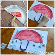 Fun rainy day craft - Paper plate umbrella: