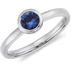 Blue Nile Round Sapphire Ring in 14k White Gold found on Polyvore