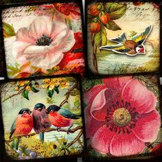 Flora and Fauna Vintage Bird and Flower Printable Digital Collage Sheet in 1-inch Squares