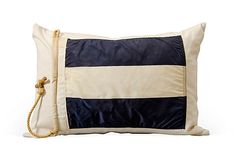 Blue & White Striped Signal Flag Pillow on OneKingsLane.com