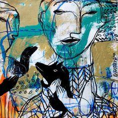 """Black Doggy,"" original painting by artist Rusudan Khizanishvilli (Georgia) available at Saatchi Art. #SaatchiArt"