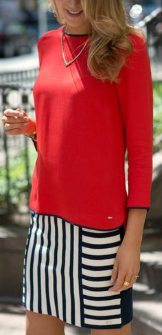 navy and white mix stripe skirt + red silk tunic with navy piping