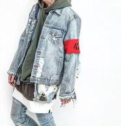 hiphop men's clothes brand clothing fear of god Four Two Four 424 spring summer broken hole jeans designer ripped denim jacket