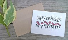 Hand Designed Color Birthday Card Blank Inside by ChampaignPaper, $4.00