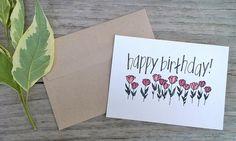 Happy Birthday Card Rustic Flower Birthday Card by ChampaignPaper