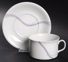 """Rainbow"" china pattern with multicolor accents from Rorstrand."