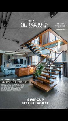 Staircase Interior Design, Indian Interior Design, Interior And Exterior, Modern Architecture House, Architecture Design, Architectural House Plans, Interior Design Sketches, Steps Design, House Layouts