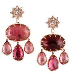 Parulina Arabian Nights pink tourmaline diamond earrings