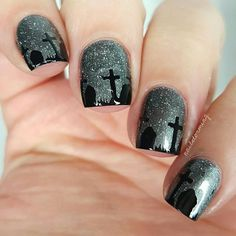 "Graveyard goth Halloween nail art... piCturepOlish ""Mishap"" available for purchase at @Color4Nails - - Products used: Base: ""Mishap"" piCturepOlish purchase at @Color4Nails Stencil: @whatsupnails Black: ""Licorice Twist"" Iscreamnails Top coat: Hk girl @glistenandglow1"