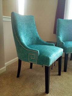 beautiful turquoise dining chairs
