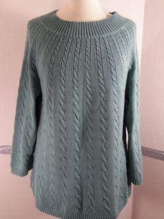 Talbots cable knit seafoam sweater size Large NWT #Talbots #Crewneck
