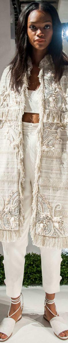 Rachel Zoe S-16 RTW, white: embellished long jacket, crop top, pants.