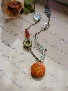 Aquamarine Beaded Necklace  Brass Locket by BlueArtichokeDesigns