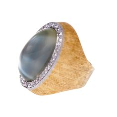 Andrew Grima Moonstone & Diamond Ring | From a unique collection of vintage cocktail rings at https://www.1stdibs.com/jewelry/rings/cocktail-rings/