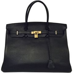 Pre-owned 2010 Hermès Black Birkin Togo 40 With Gold Hardware ($19,500) ❤ liked on Polyvore featuring bags, handbags, handbags and purses, hermes birkin bags, top handle bags, round handbag, round purse, real leather handbags, genuine leather purse and black leather handbags